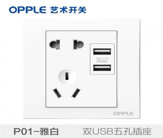 欧普raybet雷竞技黑钱吗opple艺术开关86型P01系列-P018501-双USB五孔插座
