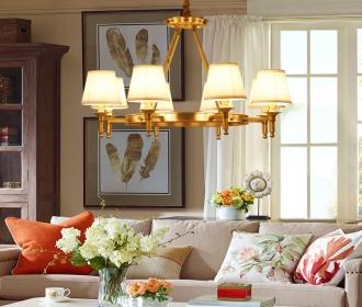 美式乡村全铜吊灯北欧复古现代简约客厅卧室餐厅别墅纯铜灯具灯饰