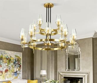 全铜别墅复式楼大吊灯客厅餐厅纯铜水晶灯挑空样板间北欧轻奢吊灯
