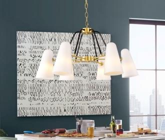 全铜美式后现代简约吊灯客厅餐厅书房卧室样版房别墅设计师灯