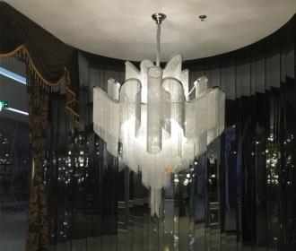 意大利流苏吊灯创意后现代奢华别墅设计师灯复式楼客厅铝链条吊灯