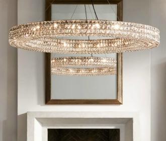 创意新古典圆环形水晶原版吊灯奢华个性美式别墅出口客厅餐厅灯