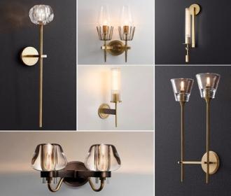 全铜客厅背景墙壁灯轻奢水晶楼梯双头单简约过道高档卧室床头灯具
