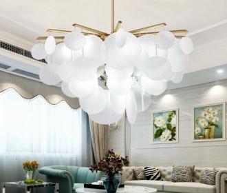 设计师简约后现代客厅餐厅轻奢别墅金属玻璃温馨浪漫样板房吊灯具