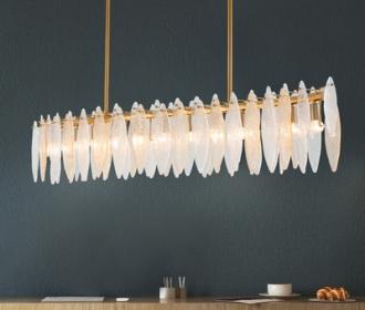 后现代轻奢圆形玻璃片吊灯酒店别墅温馨浪漫港式金色时尚餐厅吊灯