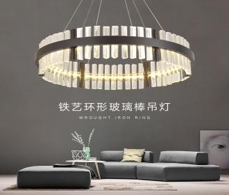 后现代北欧水晶吊灯客厅个性创意艺术环形设计师餐厅卧室样板房灯