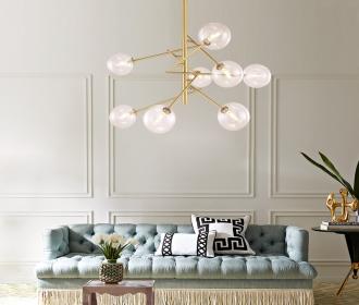 北欧全铜吊灯简约现代创意个性设计师客厅灯具卧室玻璃泡泡球吊灯