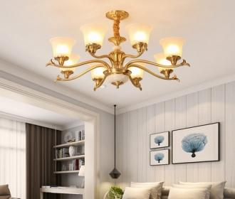 美式全铜客厅吊灯金色纯铜奢华简约大气家用餐厅吸顶灯别墅大厅灯