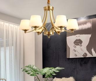 美式吊灯全铜灯具客厅灯餐厅灯奢华现代简约卧室简欧大气月影灯饰